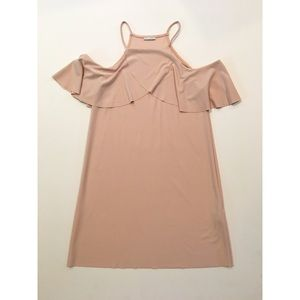 Zara Tank Open Shoulder Ruffle Blush Dress Small